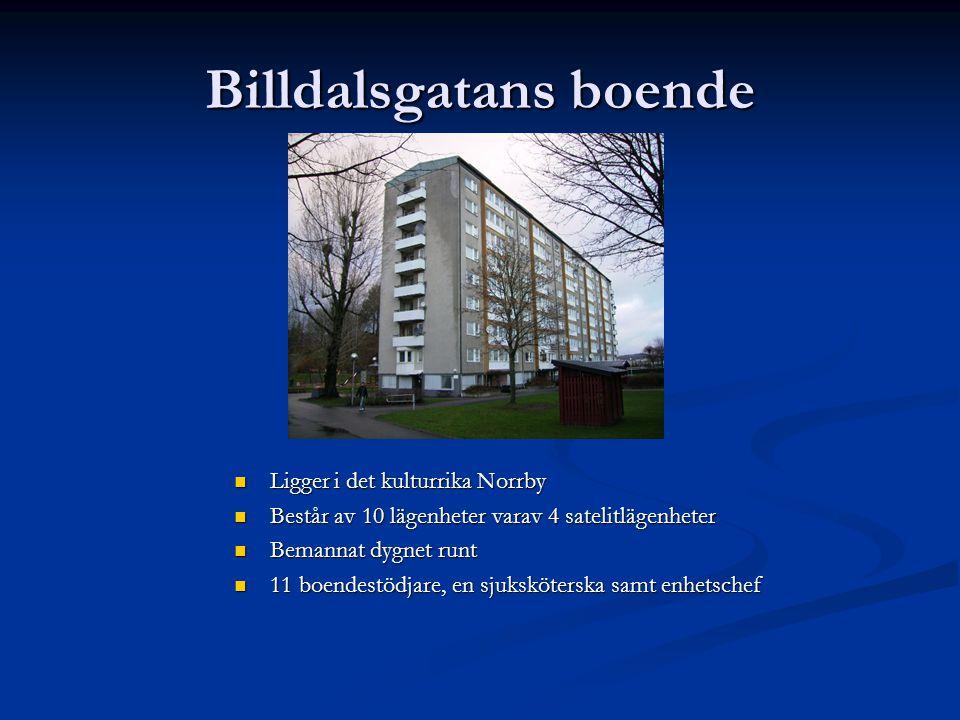 Billdalsgatans boende  Ligger i det kulturrika Norrby  Består av 10 lägenheter varav 4 satelitlägenheter  Bemannat dygnet runt  11 boendestödjare,