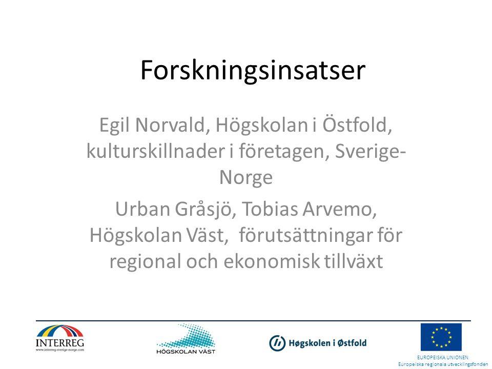 Forskningsinsatser Egil Norvald, Högskolan i Östfold, kulturskillnader i företagen, Sverige- Norge Urban Gråsjö, Tobias Arvemo, Högskolan Väst, förutsättningar för regional och ekonomisk tillväxt EUROPEISKA UNIONEN Europeiska regionala utvecklingsfonden