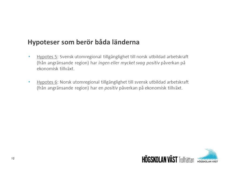 • Hypotes 5: Svensk utomregional tillgänglighet till norsk utbildad arbetskraft (från angränsande region) har ingen eller mycket svag positiv påverkan på ekonomisk tillväxt.