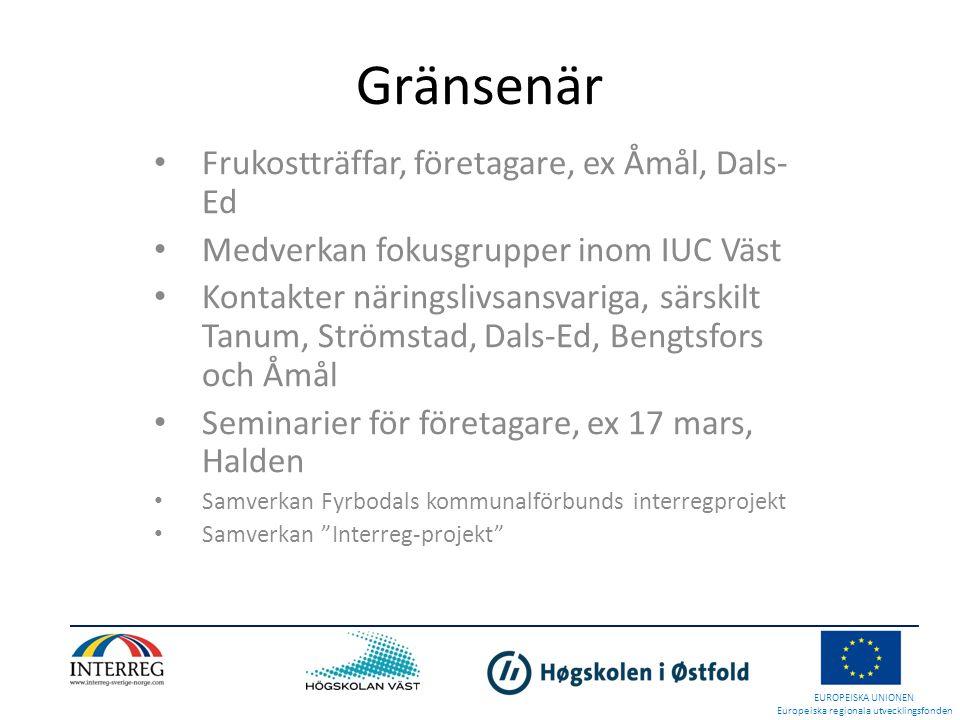 Gränsenär • Frukostträffar, företagare, ex Åmål, Dals- Ed • Medverkan fokusgrupper inom IUC Väst • Kontakter näringslivsansvariga, särskilt Tanum, Str