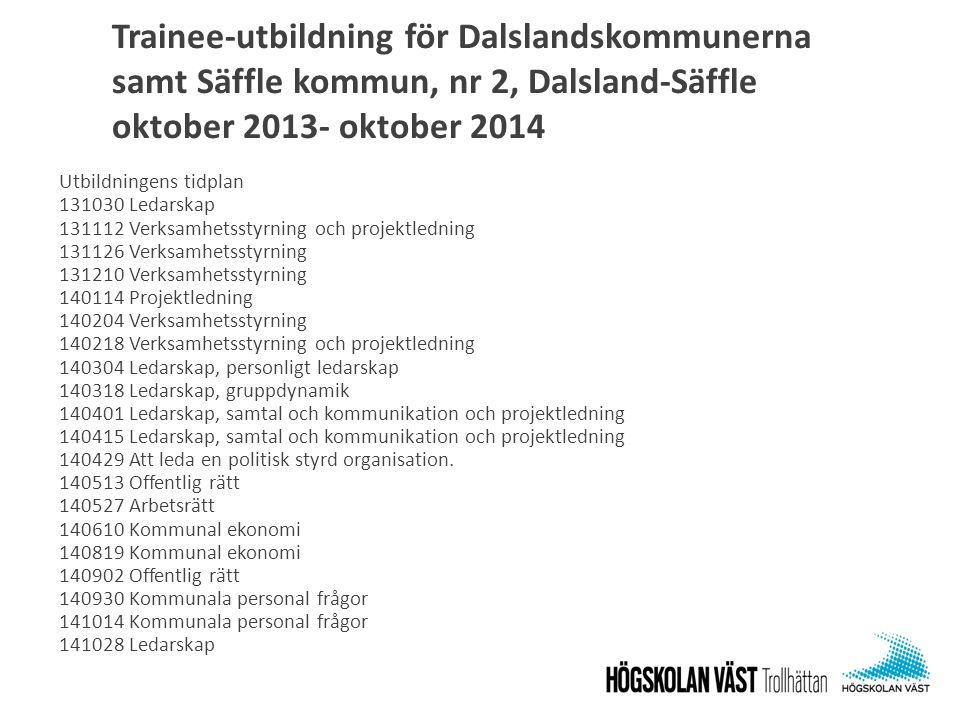 Trainee-utbildning för Dalslandskommunerna samt Säffle kommun, nr 2, Dalsland-Säffle oktober 2013- oktober 2014 Utbildningens tidplan 131030 Ledarskap