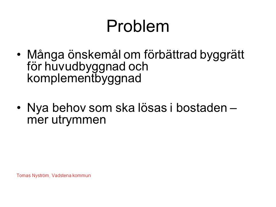 Problem •Många önskemål om förbättrad byggrätt för huvudbyggnad och komplementbyggnad •Nya behov som ska lösas i bostaden – mer utrymmen Tomas Nyström