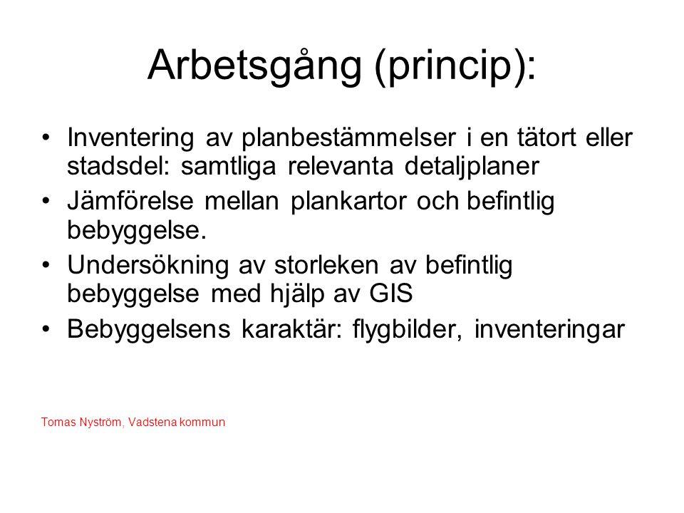 Arbetsgång (princip): •Inventering av planbestämmelser i en tätort eller stadsdel: samtliga relevanta detaljplaner •Jämförelse mellan plankartor och b
