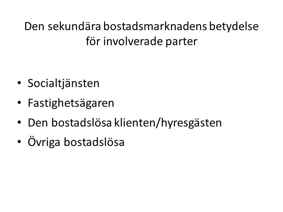 Den sekundära bostadsmarknadens betydelse för involverade parter • Socialtjänsten • Fastighetsägaren • Den bostadslösa klienten/hyresgästen • Övriga b