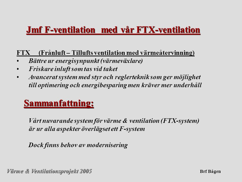 Värme & Ventilationsprojekt 2005 Brf Bågen Bågen-nyckeltal • •Fjärrvärme 94 kWh/m²Lågt • •Vatten1,34 m³/m² Högt • •Fastighetsel34 kWh/m²Högt Nuvarande årskostnader (prel 2004 inkl moms) •Fjärrvärme 3 500 MWh 2 100 000:- •Vatten 50 000 m³ 500 000:- •Fastighetsel 1 260 MWh1 200 000:- SUMMA inkl.