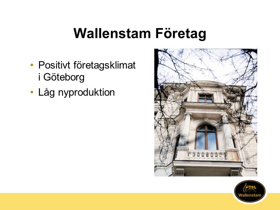 Wallenstam Företag •Positivt företagsklimat i Göteborg •Låg nyproduktion