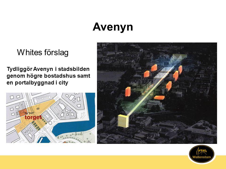 Avenyn Tydliggör Avenyn i stadsbilden genom högre bostadshus samt en portalbyggnad i city Whites förslag