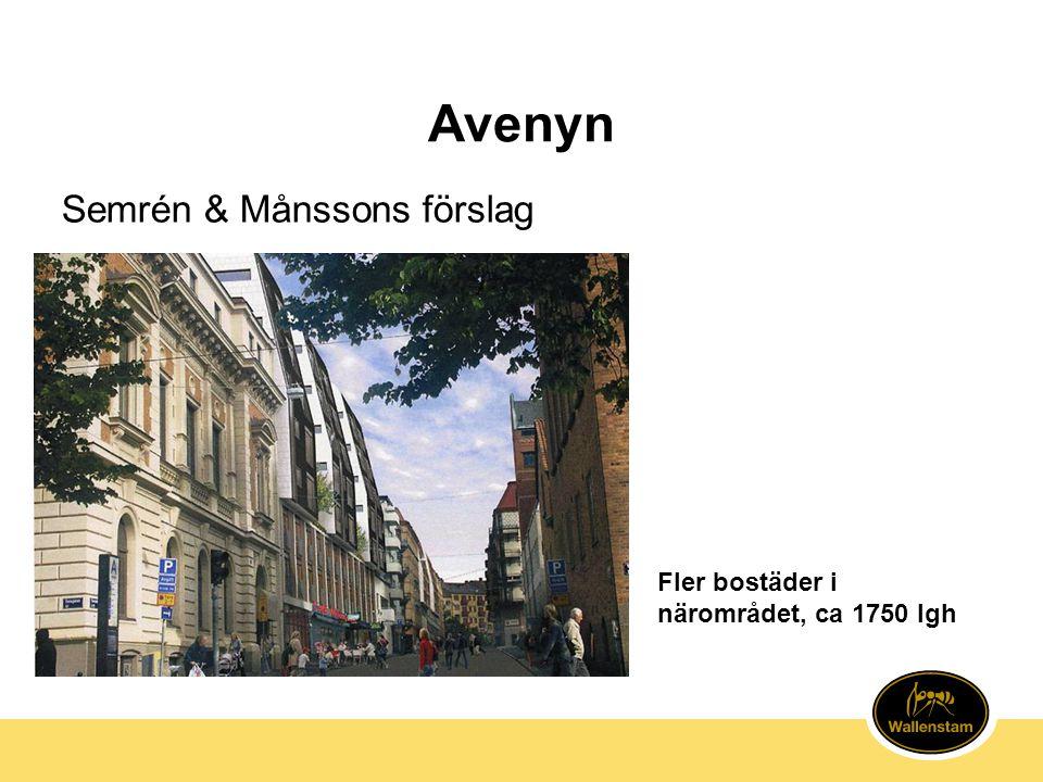 Avenyn Semrén & Månssons förslag Fler bostäder i närområdet, ca 1750 lgh