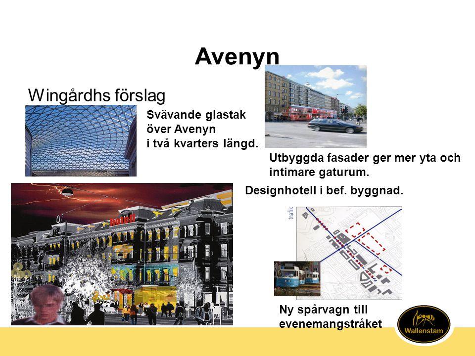 Avenyn Svävande glastak över Avenyn i två kvarters längd. Designhotell i bef. byggnad. Ny spårvagn till evenemangstråket Wingårdhs förslag Utbyggda fa
