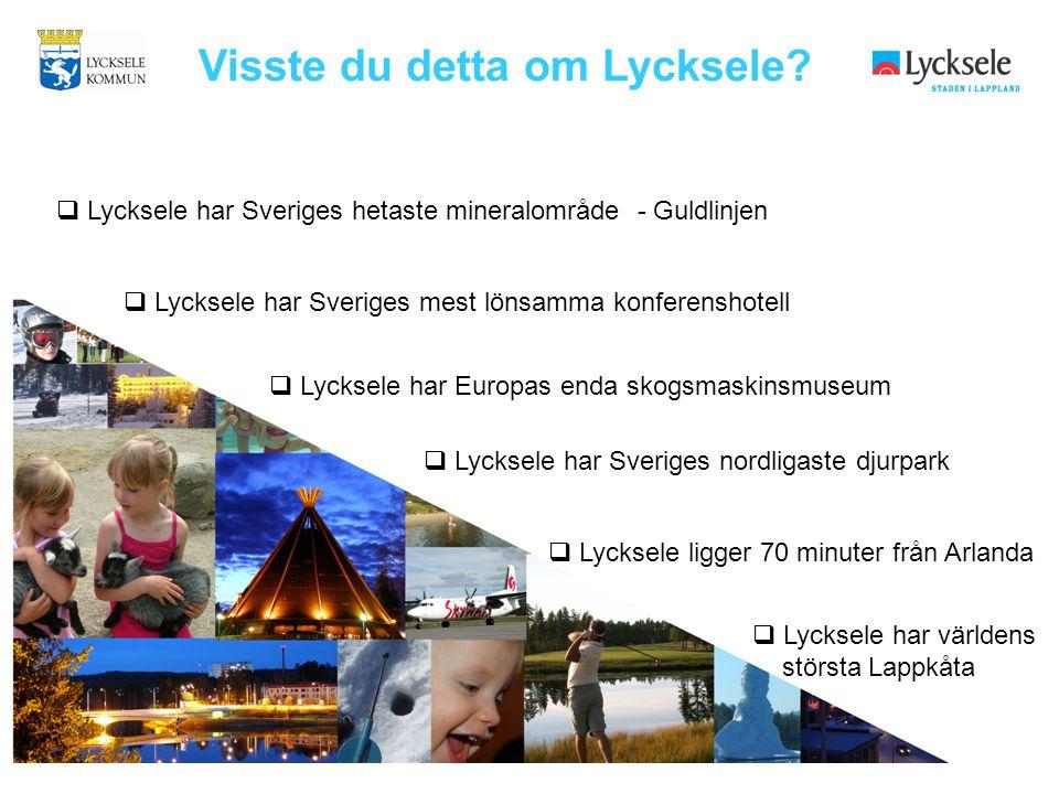 Visste du detta om Lycksele?  Lycksele har Sveriges hetaste mineralområde - Guldlinjen  Lycksele har Sveriges mest lönsamma konferenshotell  Lyckse