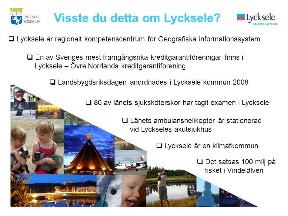  Landsbygdsriksdagen anordnades i Lycksele kommun 2008  Lycksele är en klimatkommun  Det satsas 100 milj på fisket i Vindelälven  Lycksele är regi