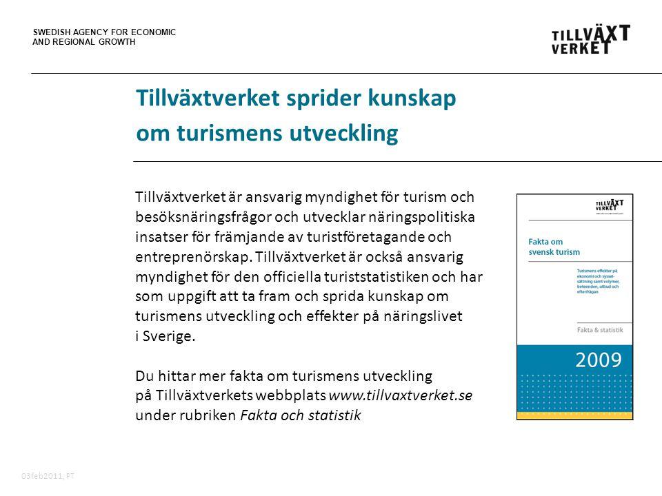 SWEDISH AGENCY FOR ECONOMIC AND REGIONAL GROWTH 03feb2011, PT Tillväxtverket sprider kunskap om turismens utveckling Tillväxtverket är ansvarig myndig