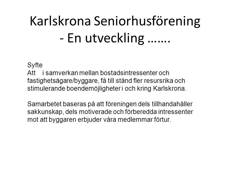 Karlskrona Seniorhusförening - En utveckling ……. Syfte Att i samverkan mellan bostadsintressenter och fastighetsägare/byggare, få till stånd fler resu