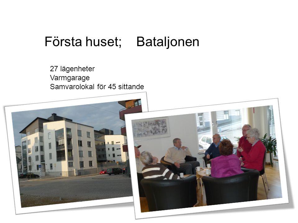 Första huset; Bataljonen 27 lägenheter Varmgarage Samvarolokal för 45 sittande