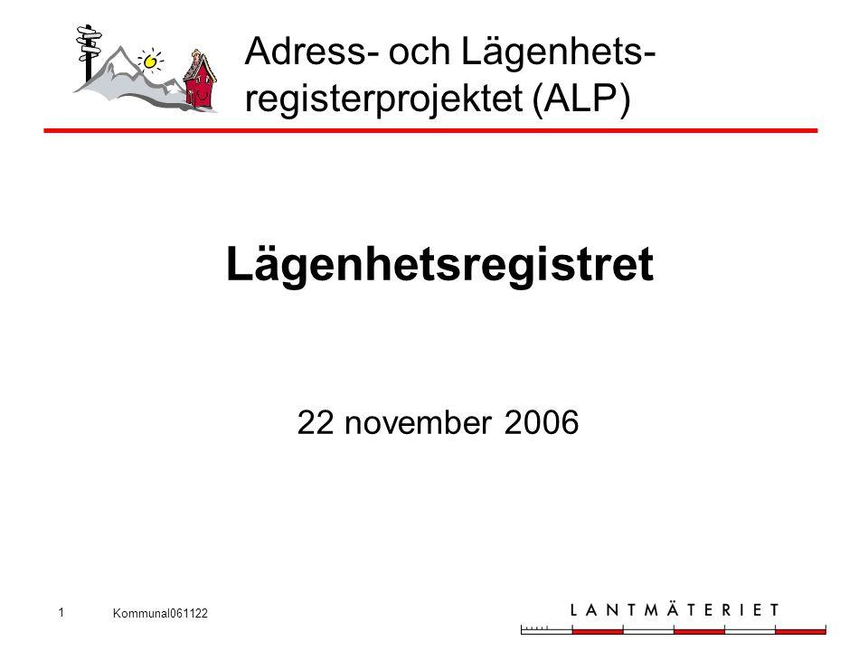 Kommunal061122 1 Adress- och Lägenhets- registerprojektet (ALP) Lägenhetsregistret 22 november 2006