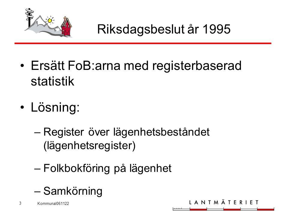 Kommunal061122 3 Riksdagsbeslut år 1995 •Ersätt FoB:arna med registerbaserad statistik •Lösning: –Register över lägenhetsbeståndet (lägenhetsregister)