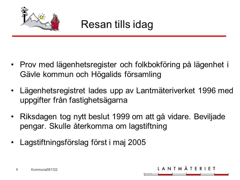 Kommunal061122 4 Resan tills idag •Prov med lägenhetsregister och folkbokföring på lägenhet i Gävle kommun och Högalids församling •Lägenhetsregistret