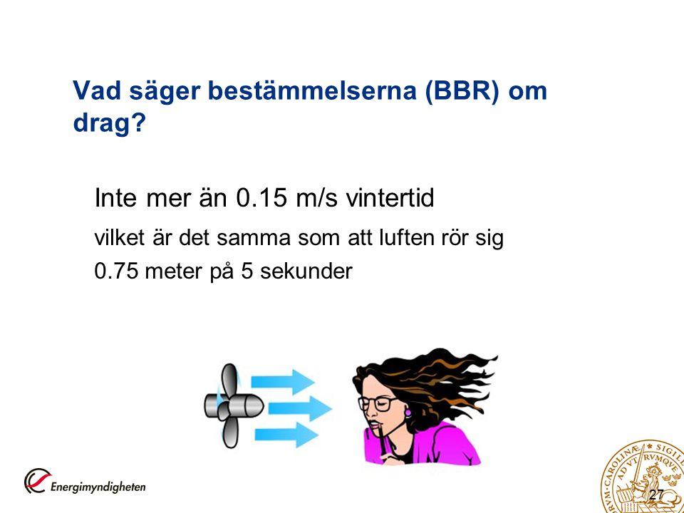 27 Vad säger bestämmelserna (BBR) om drag? Inte mer än 0.15 m/s vintertid vilket är det samma som att luften rör sig 0.75 meter på 5 sekunder