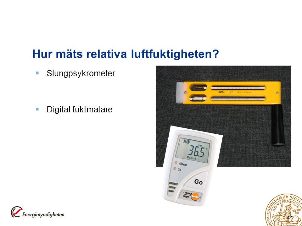 41 Hur mäts relativa luftfuktigheten?  Slungpsykrometer  Digital fuktmätare