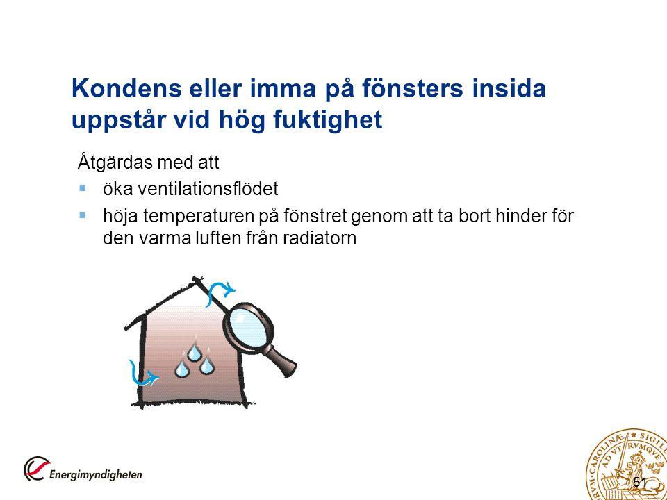 51 Kondens eller imma på fönsters insida uppstår vid hög fuktighet Åtgärdas med att  öka ventilationsflödet  höja temperaturen på fönstret genom att