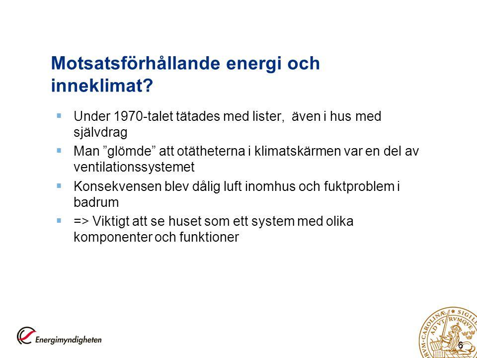 """6 Motsatsförhållande energi och inneklimat?  Under 1970-talet tätades med lister, även i hus med självdrag  Man """"glömde"""" att otätheterna i klimatskä"""