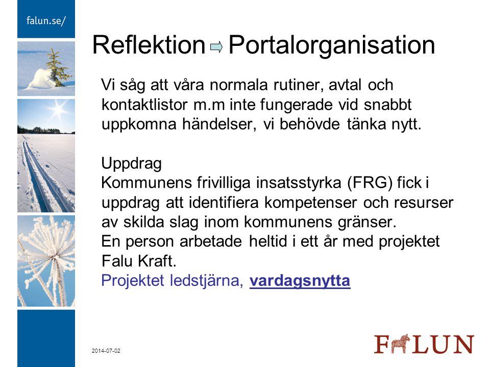 2014-07-02 Reflektion Portalorganisation Vi såg att våra normala rutiner, avtal och kontaktlistor m.m inte fungerade vid snabbt uppkomna händelser, vi
