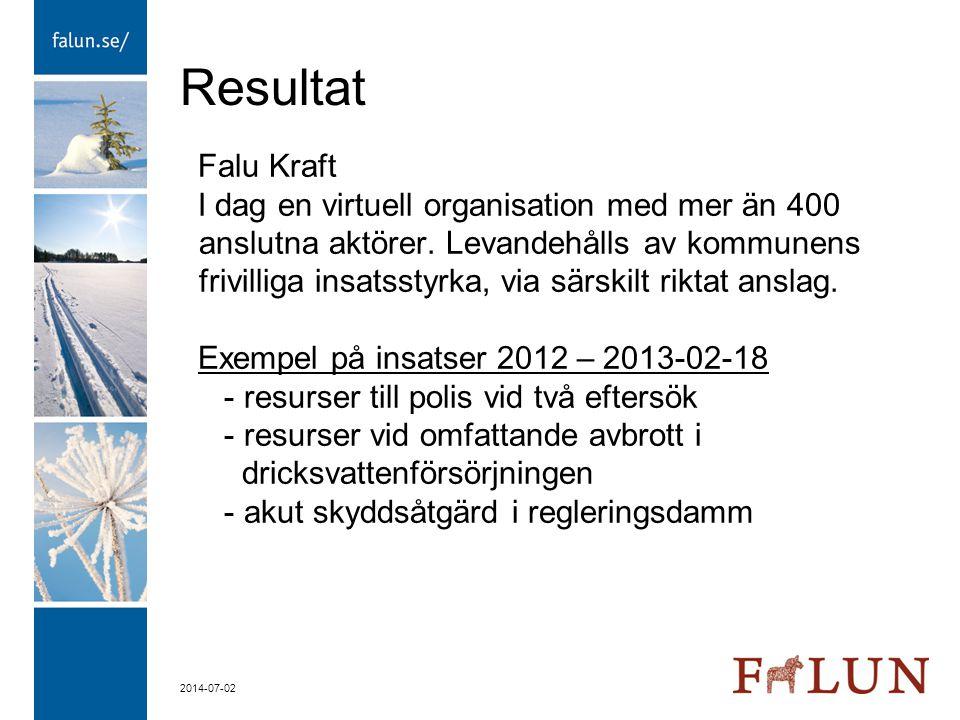 2014-07-02 Resultat Falu Kraft I dag en virtuell organisation med mer än 400 anslutna aktörer. Levandehålls av kommunens frivilliga insatsstyrka, via