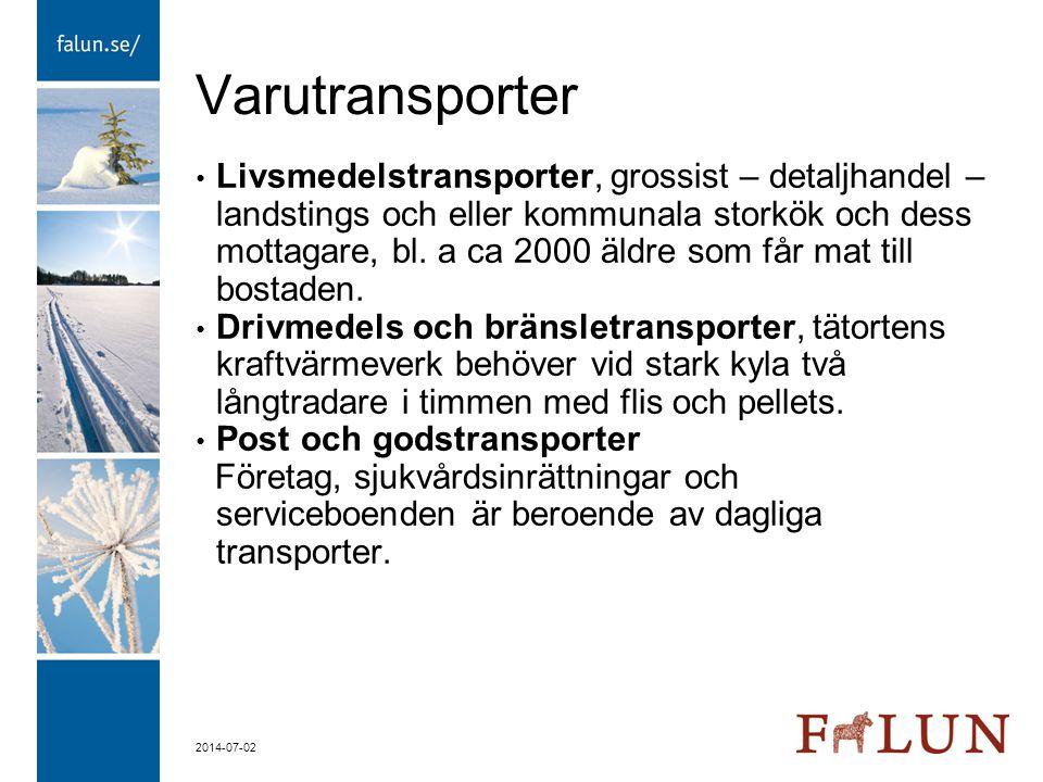 2014-07-02 Varutransporter • Livsmedelstransporter, grossist – detaljhandel – landstings och eller kommunala storkök och dess mottagare, bl. a ca 2000