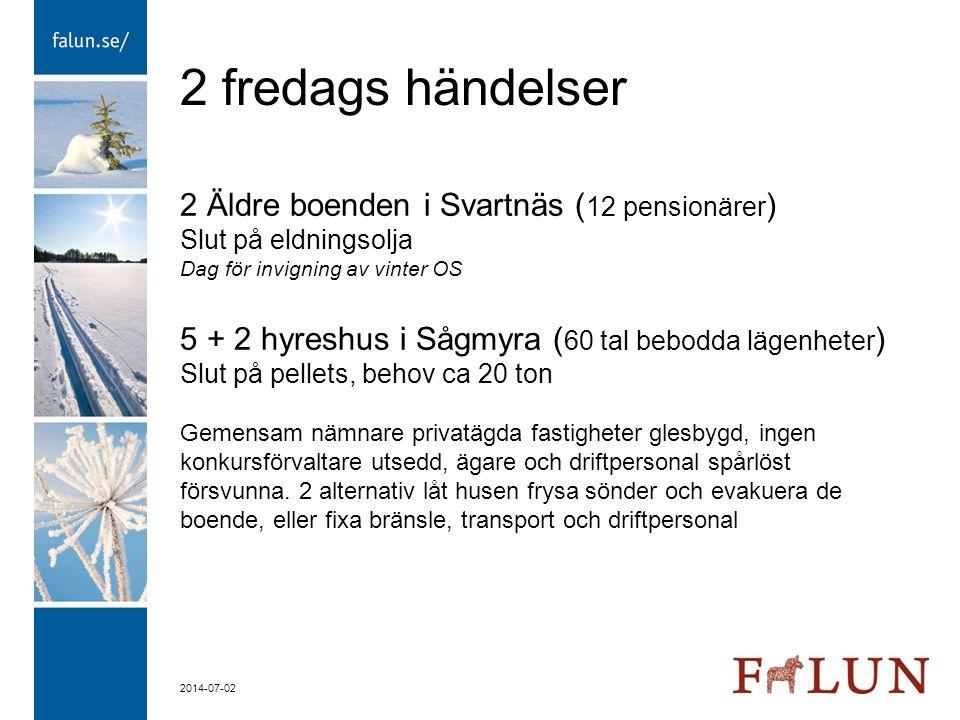 2014-07-02 2 fredags händelser 2 Äldre boenden i Svartnäs ( 12 pensionärer ) Slut på eldningsolja Dag för invigning av vinter OS 5 + 2 hyreshus i Sågm