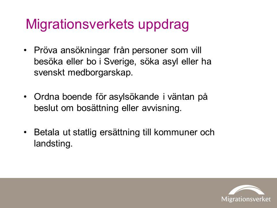 Migrationsverkets uppdrag •Pröva ansökningar från personer som vill besöka eller bo i Sverige, söka asyl eller ha svenskt medborgarskap. •Ordna boende