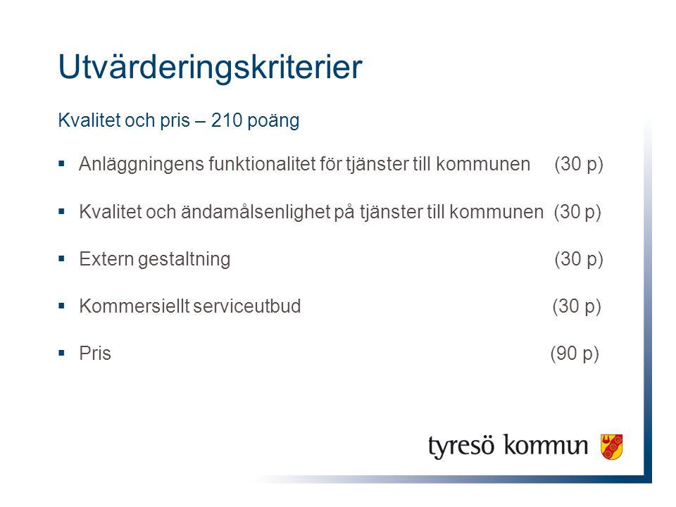 Utvärderingskriterier Kvalitet och pris – 210 poäng  Anläggningens funktionalitet för tjänster till kommunen (30 p)  Kvalitet och ändamålsenlighet på tjänster till kommunen (30 p)  Extern gestaltning (30 p)  Kommersiellt serviceutbud (30 p)  Pris (90 p)