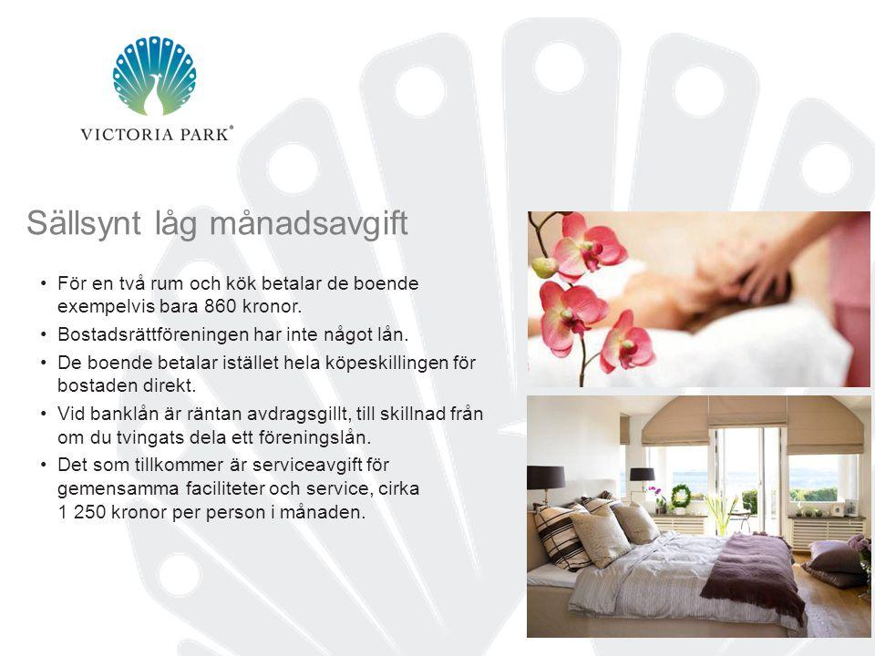 12 Sällsynt låg månadsavgift •För en två rum och kök betalar de boende exempelvis bara 860 kronor.
