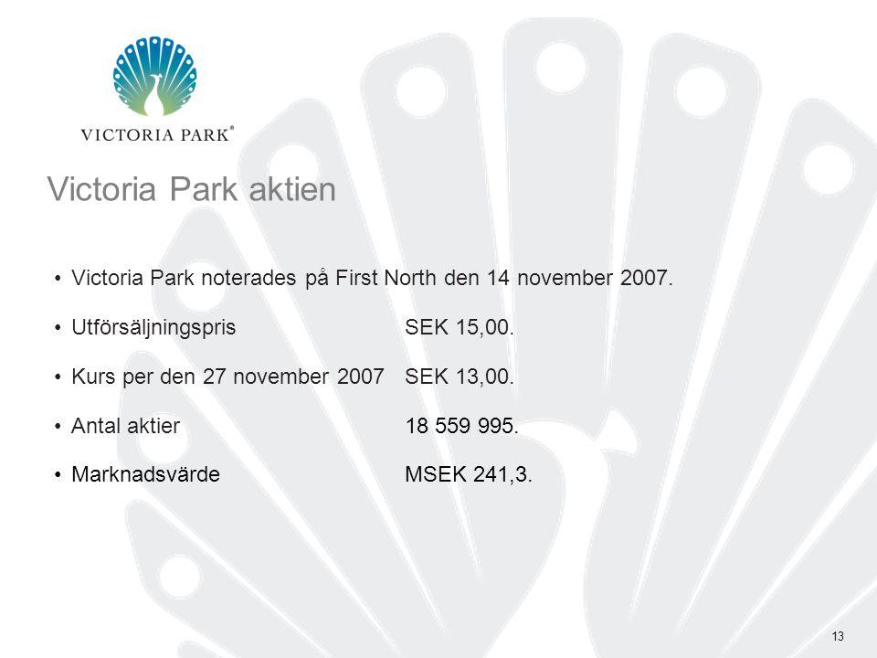 13 Victoria Park aktien •Victoria Park noterades på First North den 14 november 2007.
