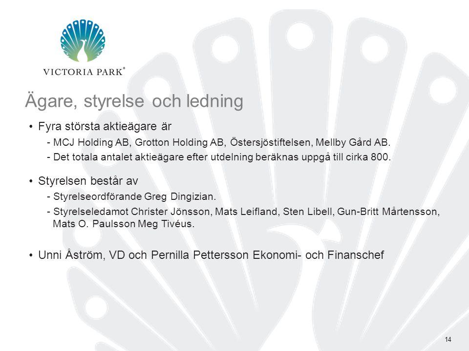 14 Ägare, styrelse och ledning •Fyra största aktieägare är - MCJ Holding AB, Grotton Holding AB, Östersjöstiftelsen, Mellby Gård AB.