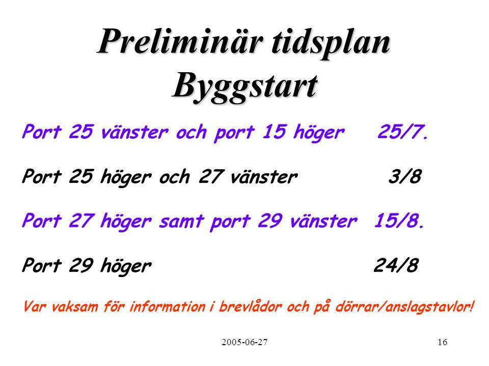 2005-06-2716 Preliminär tidsplan Byggstart Port 25 vänster och port 15 höger 25/7. Port 25 höger och 27 vänster 3/8 Port 27 höger samt port 29 vänster