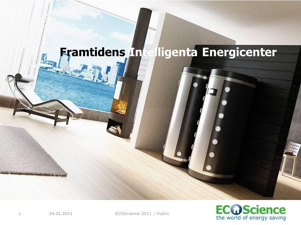 24.01.2011ECOScience 2011 / Public12 Knutpunkt för Energin Energi källor Inställt eller förberett Energiförbruk are Sol värme (Vakuum Rör eller Flata Paneler) värmepump/ mark eller bergvärmel Tappvatten Element Golv värme Pellets/ved/Gas/Olj a/Direkt verkande ECOScience styr och fördelar energin på marknades mest effektiva sätt både in och ut.