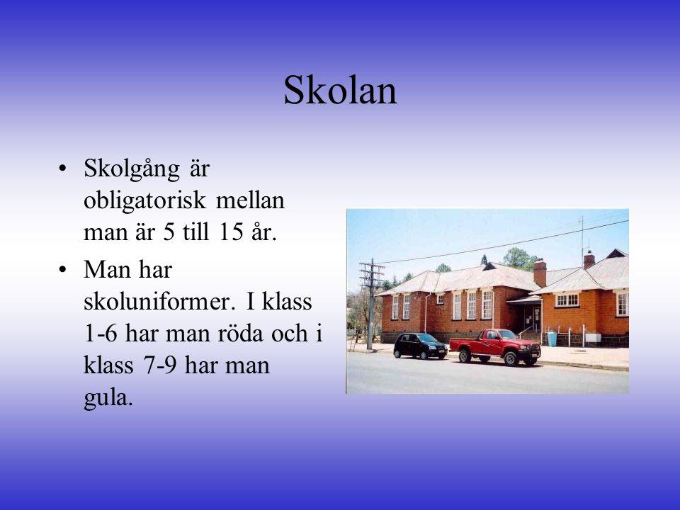 Skolan, forts •I•I skolan lär man sig ungefär samma sak som vi i Sverige, men man lär sig också att odla och hur man sköter skördar.