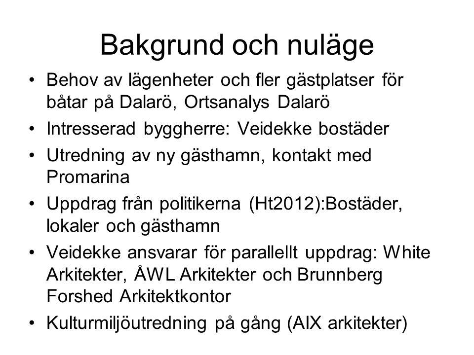 Bakgrund och nuläge •Behov av lägenheter och fler gästplatser för båtar på Dalarö, Ortsanalys Dalarö •Intresserad byggherre: Veidekke bostäder •Utredn