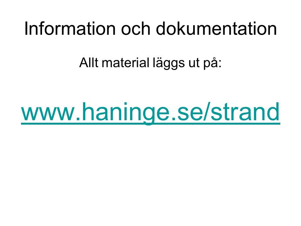 Information och dokumentation Allt material läggs ut på: www.haninge.se/strand