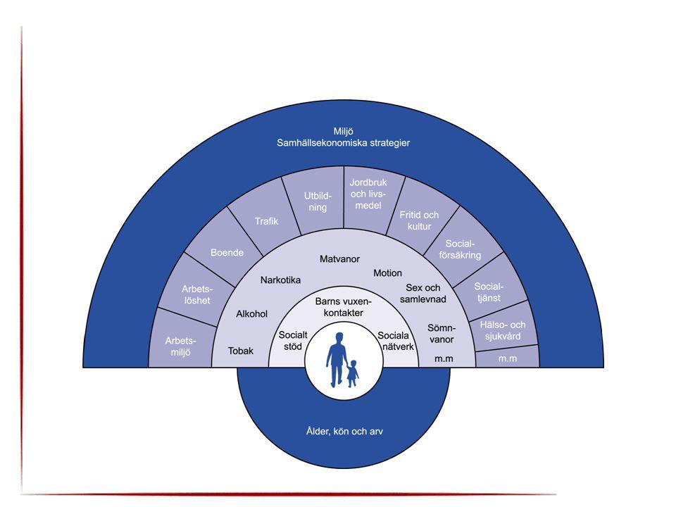Skapa samhälleliga förutsättningar för en god hälsa på lika villkor för hela befolkningen 'Riksdagsbeslut april 2003 11 målområden