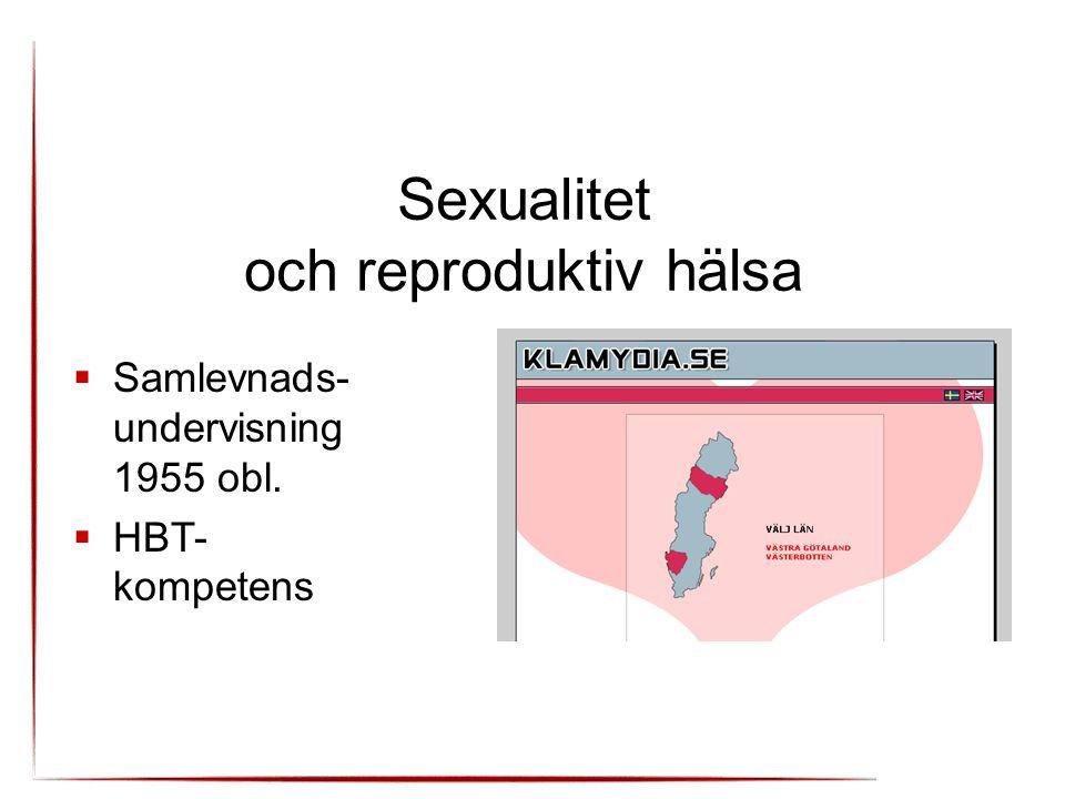Sexualitet och reproduktiv hälsa  Samlevnads- undervisning 1955 obl.  HBT- kompetens