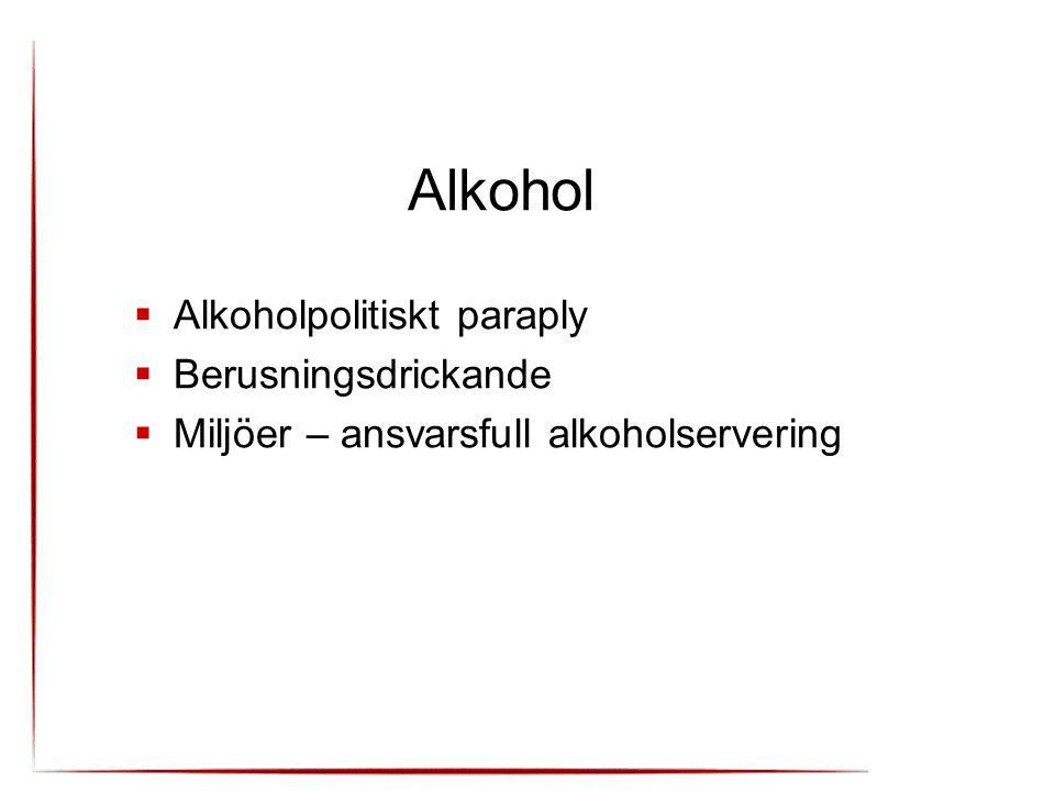 Alkohol  Alkoholpolitiskt paraply  Berusningsdrickande  Miljöer – ansvarsfull alkoholservering