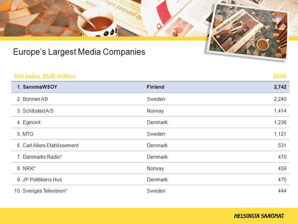 Europe's Largest Media Companies Net sales, EUR million 2006 1.