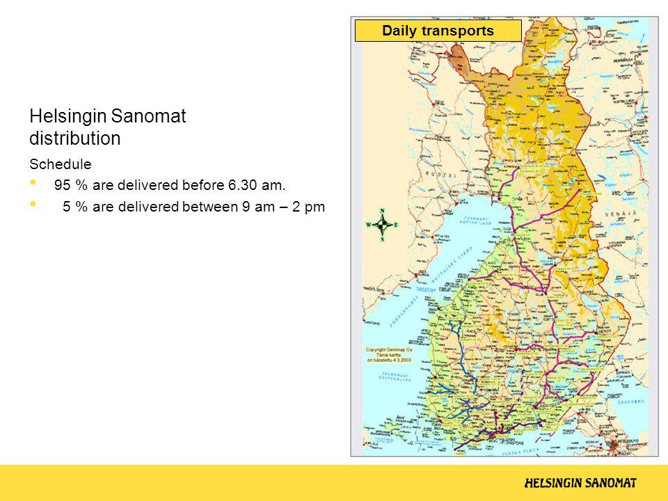 Helsingin Sanomat distribution Schedule • 95 % are delivered before 6.30 am.