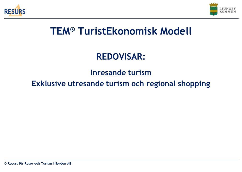 © Resurs för Resor och Turism i Norden AB KRONOBERGS LÄN 2010 Total omsättning 1 510 mKr inresande turism 1 094 personer årssysselsatta inresande turism 65 mKr i direkta skatteintäkter intäkter från sysselsättning i de företag som direkt påverkas av besökarens utlägg av inresande turism 128 mKr i totala skatteintäkter samhällsekonomiska effekten av inresande