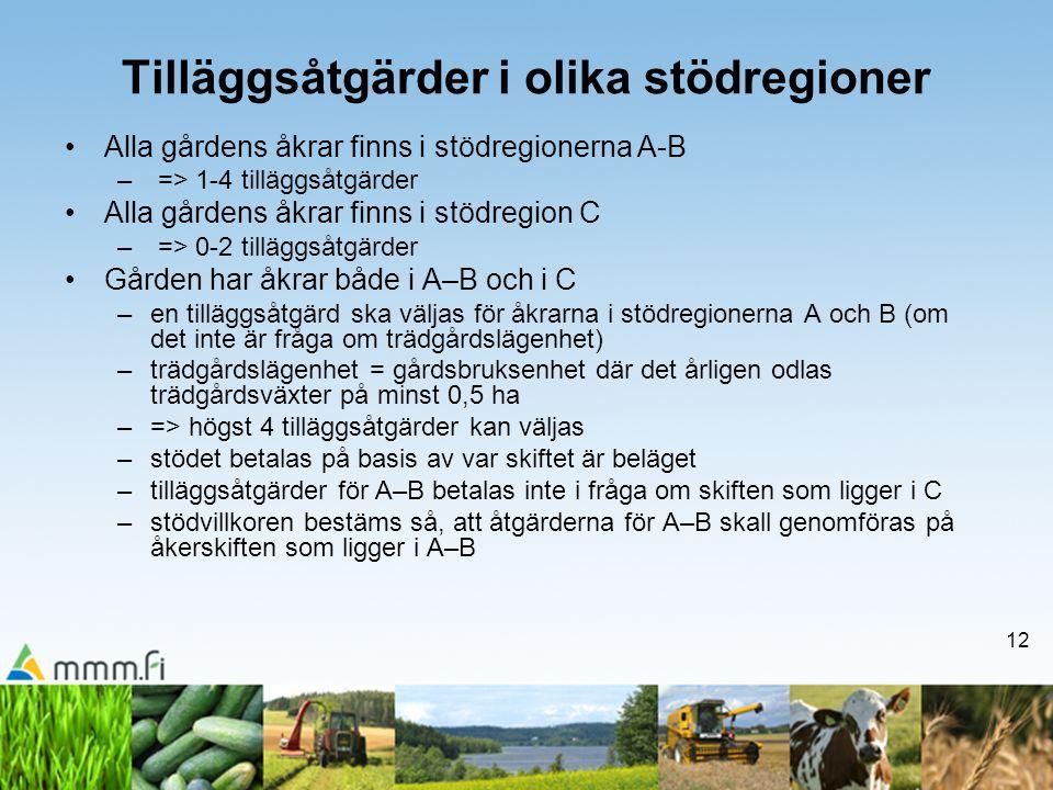12 Tilläggsåtgärder i olika stödregioner •Alla gårdens åkrar finns i stödregionerna A-B – => 1-4 tilläggsåtgärder •Alla gårdens åkrar finns i stödregi