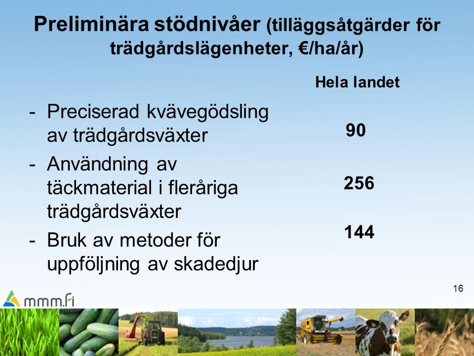 16 Preliminära stödnivåer (tilläggsåtgärder för trädgårdslägenheter, €/ha/år) -Preciserad kvävegödsling av trädgårdsväxter -Användning av täckmaterial