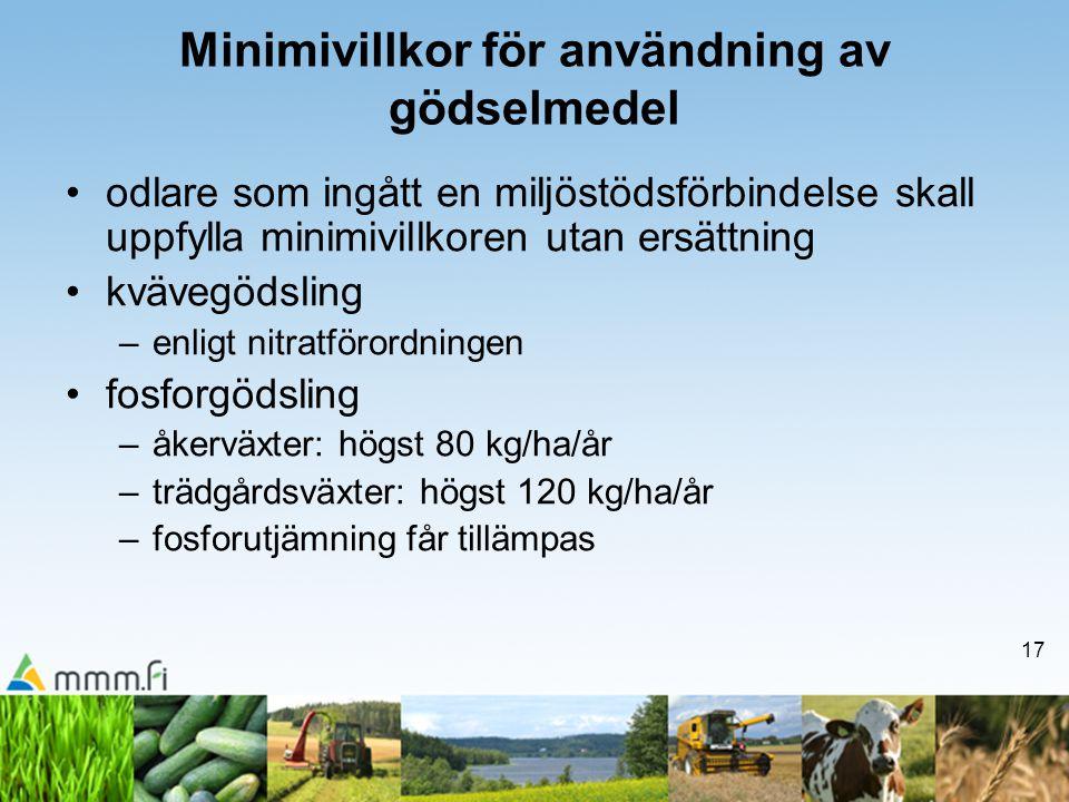 17 Minimivillkor för användning av gödselmedel •odlare som ingått en miljöstödsförbindelse skall uppfylla minimivillkoren utan ersättning •kvävegödsli