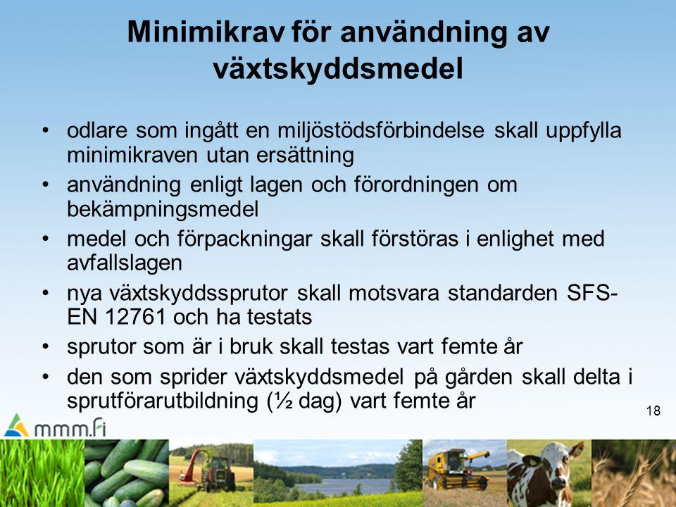 18 Minimikrav för användning av växtskyddsmedel •odlare som ingått en miljöstödsförbindelse skall uppfylla minimikraven utan ersättning •användning en