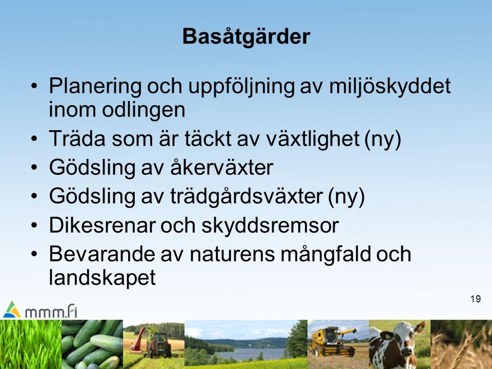 19 Basåtgärder •Planering och uppföljning av miljöskyddet inom odlingen •Träda som är täckt av växtlighet (ny) •Gödsling av åkerväxter •Gödsling av tr